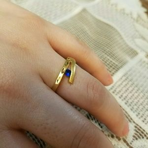 Jewelry - 18K Gold Filled Ring Blue CZ Stone 7.5 gift